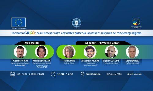 """Eveniment online – """"Formarea CRED: pasul necesar către activitatea didactică inovatoare susținută de competențe digitale"""""""