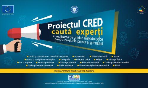 Proiectul CRED – Se caută 103 experți pentru realizarea de ghiduri metodologice pentru nivelul primar și gimnazial